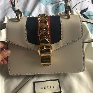 Gucci Sylvie leather mini bag white